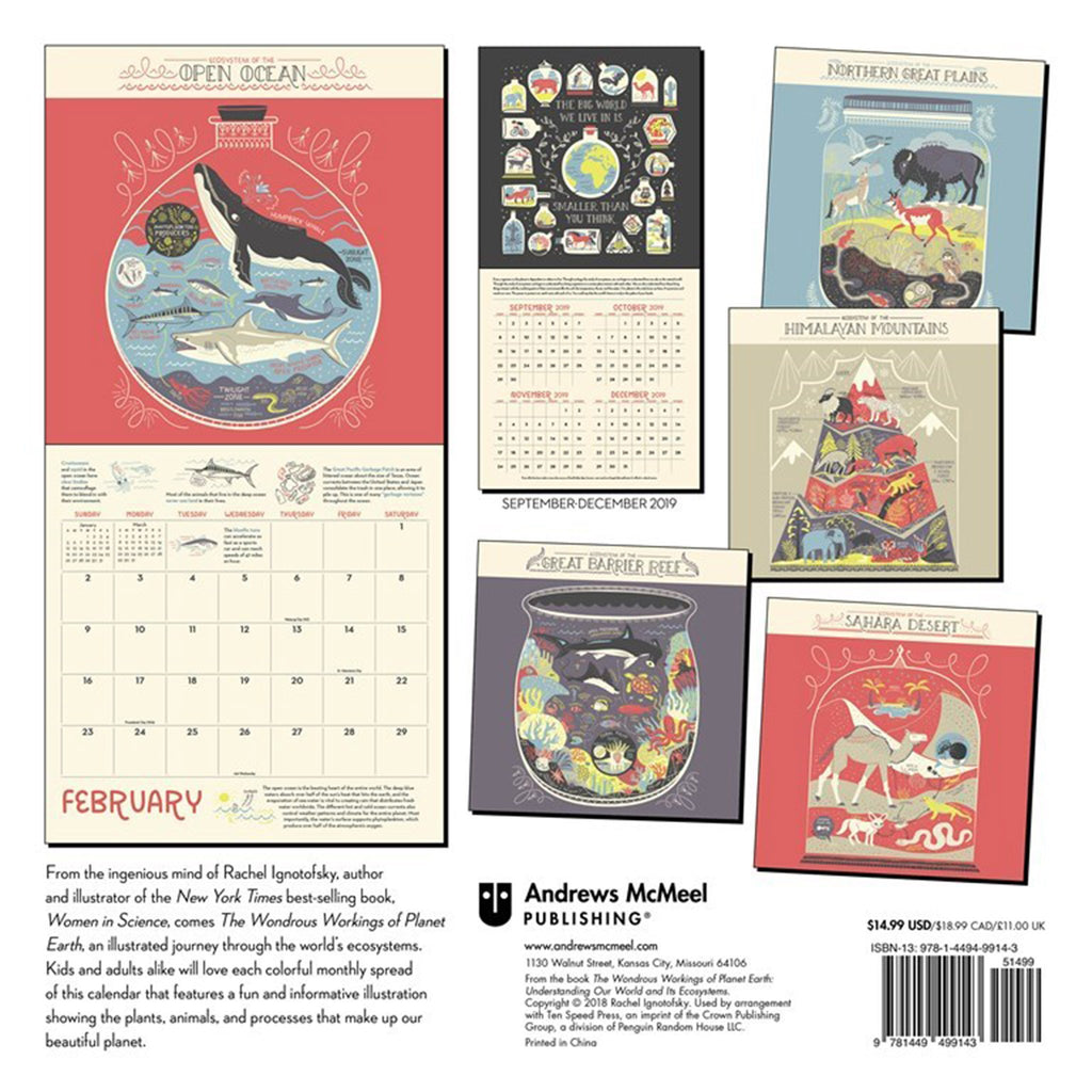 2020 the wondrous workings of planet earth monthly wall calendar back cover