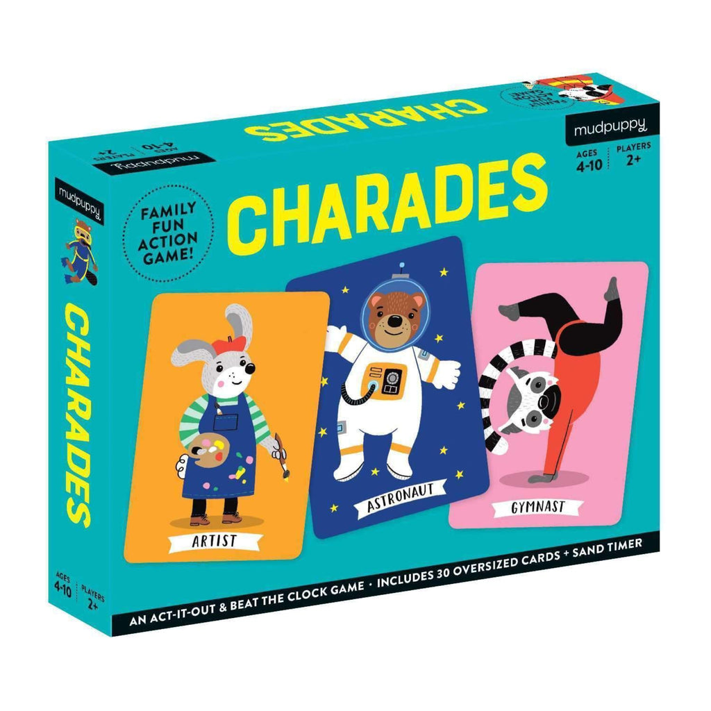 charades box with illustrations of animals as an artist, astronaut, and gymnast