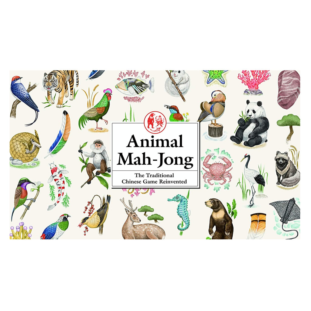 mah jong game box with illustrated animals