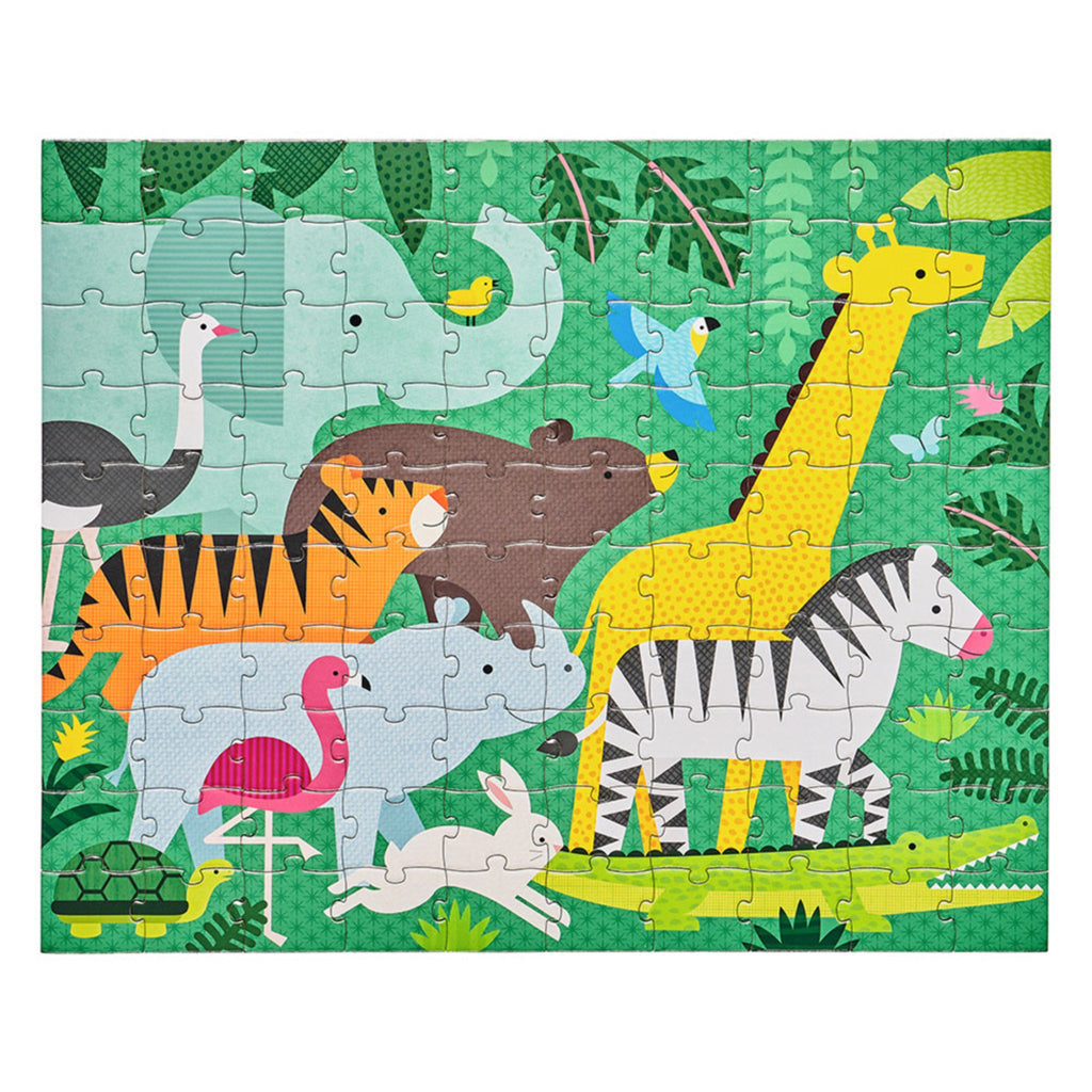 green puzzle with assorted animals surrounded by foliage