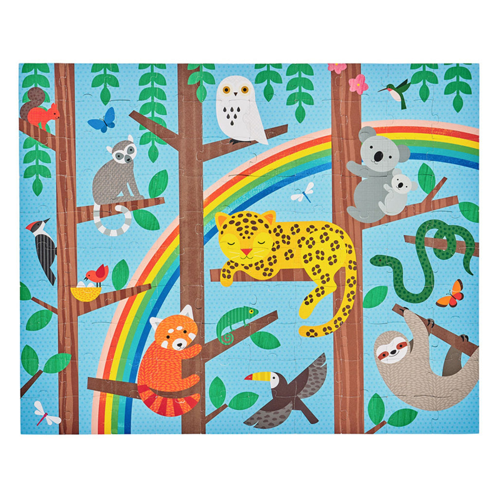 light blue puzzle with rainbow and assorted animals in trees