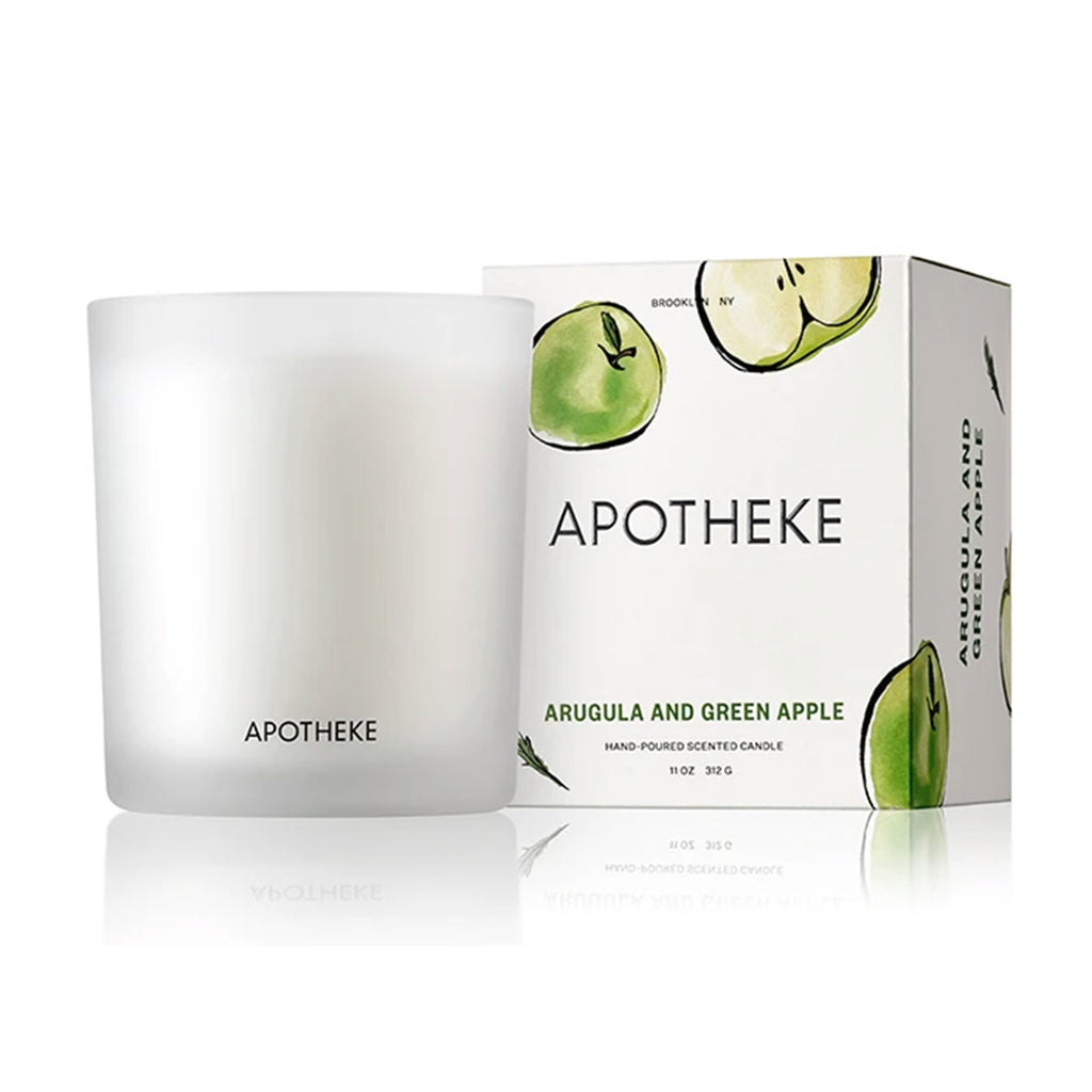 apotheke arugula green apple market collection scented soy candle with gift box