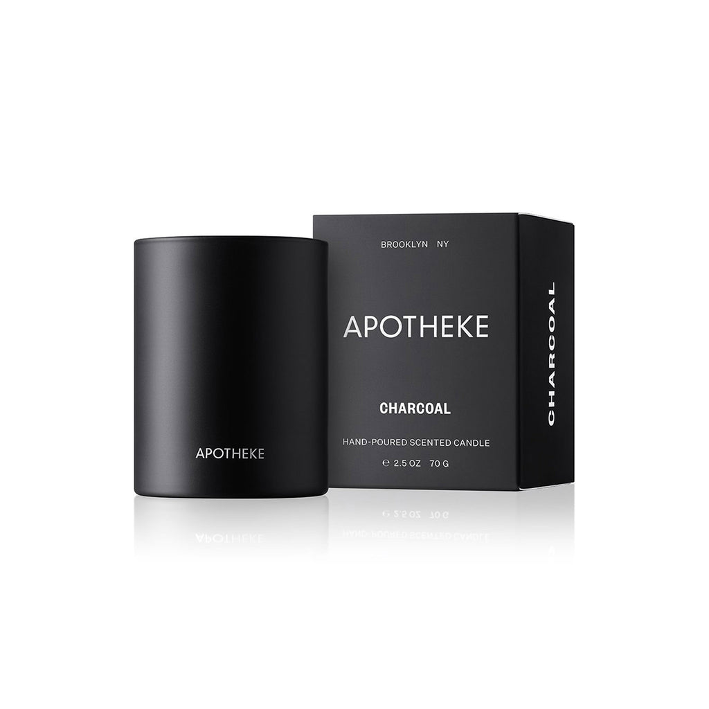 apotheke charcoal scented soy wax votive black candle with packaging
