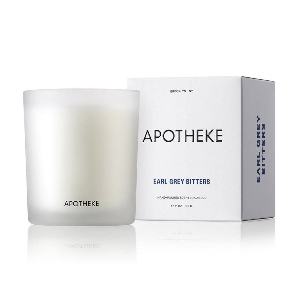 apotheke earl grey bitters scented soy wax candle with gift box