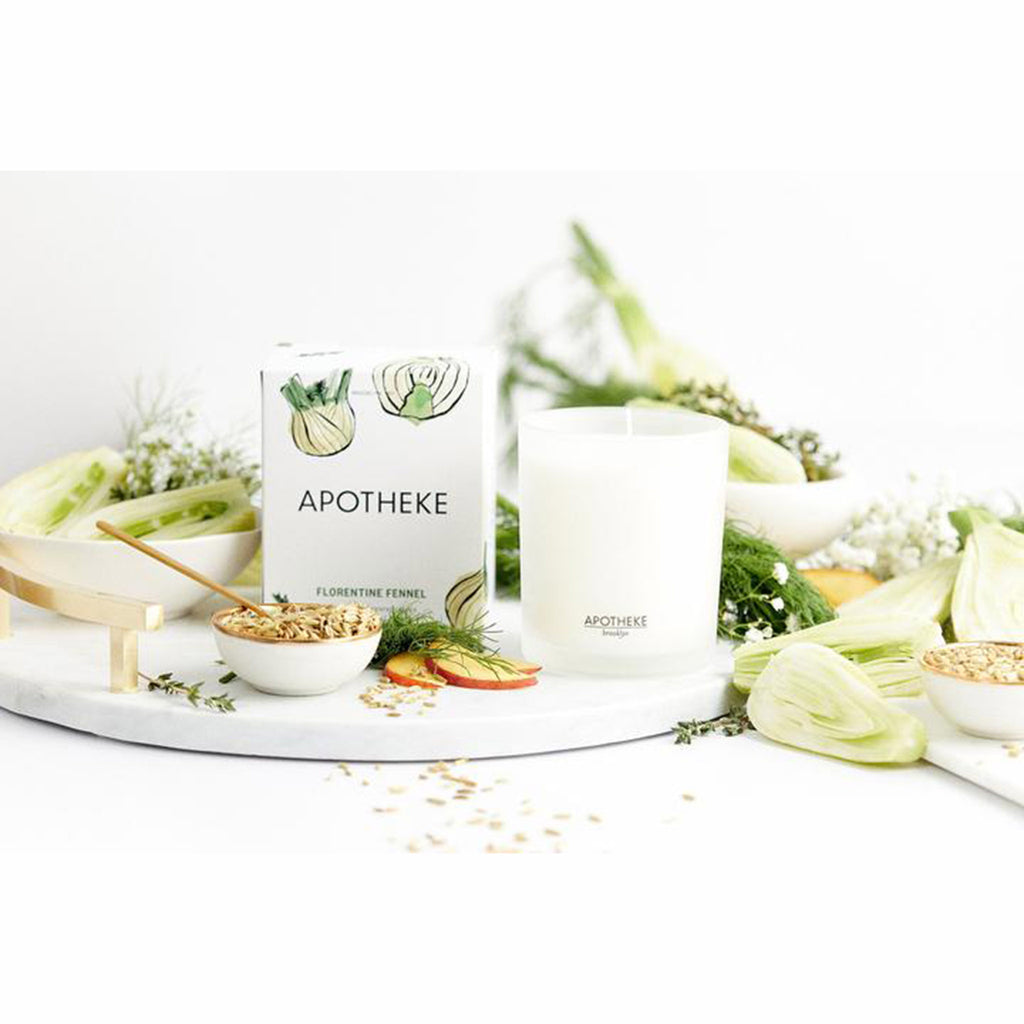 apotheke florentine fennel market collection scented soy candle with box and fresh cut fennel