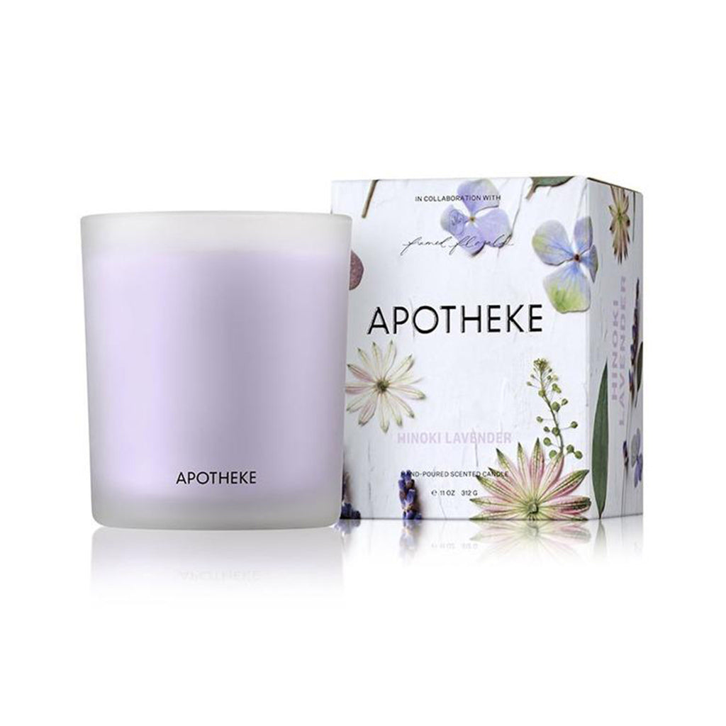 apotheke framed florals hinoki lavender scented soy wax candle with illustrated box