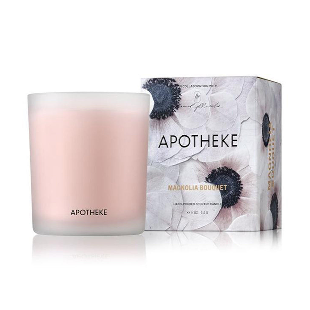 apotheke framed florals magnolia bouquet scented soy wax candle with illustrated box
