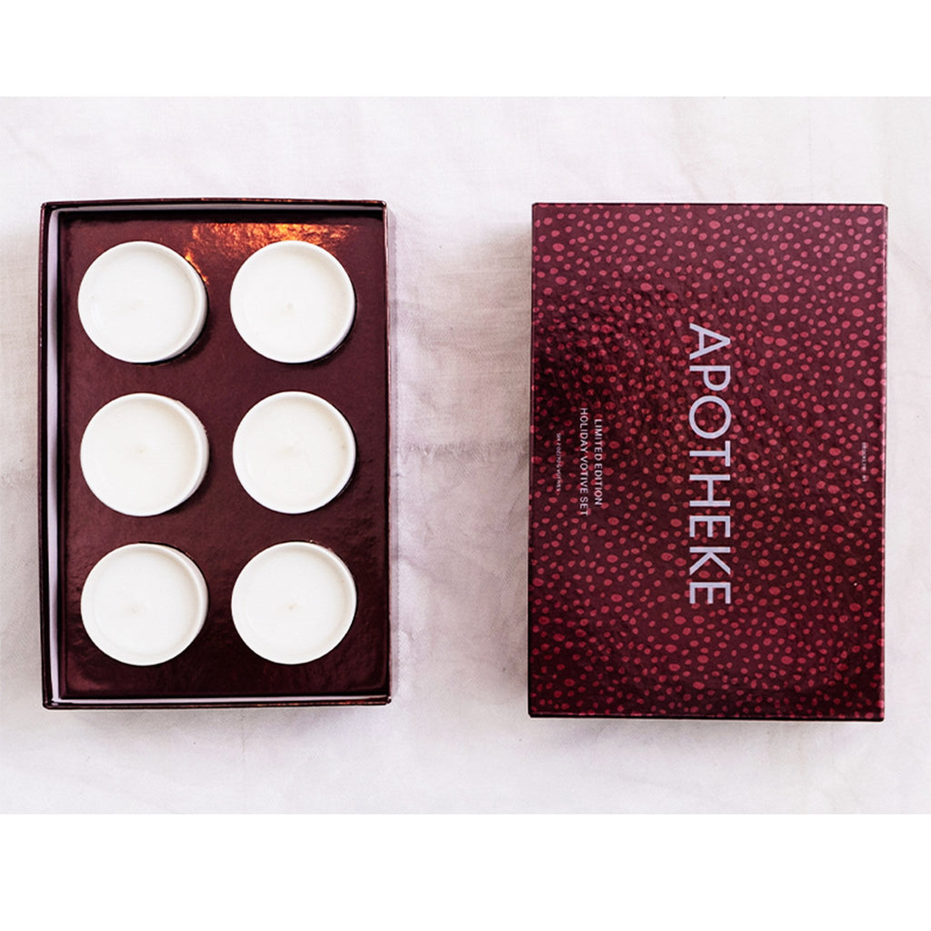 apotheke 6 pack limited edition scented holiday votive candle gift set box open