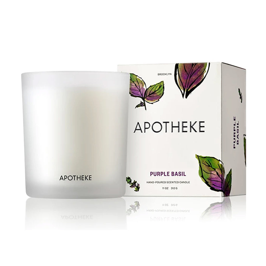 apotheke purple basil market collection scented soy candle with box