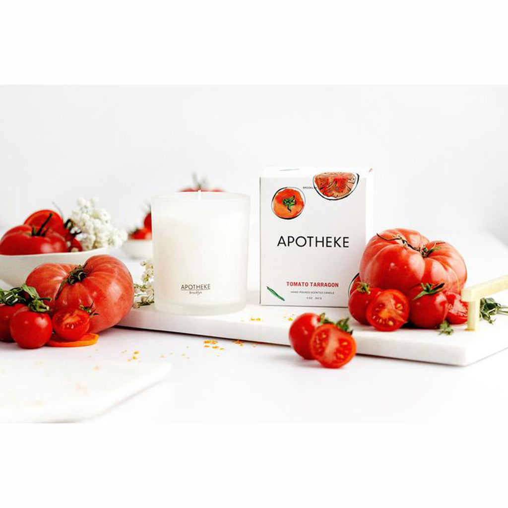apotheke tomato tarragon market collection scented soy candle with gift box and fresh tomatoes