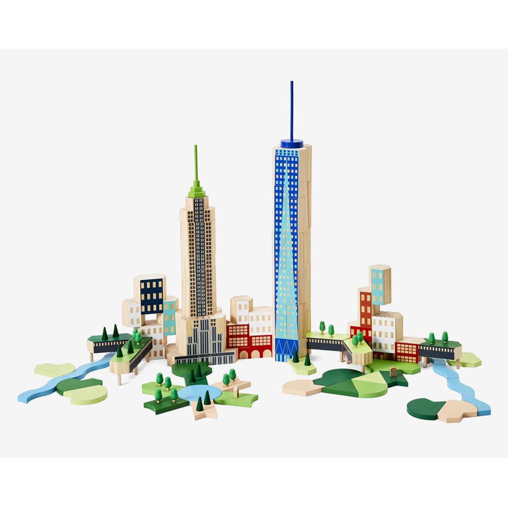areaware blockitecture new york city big apple architecture building blocks completed build