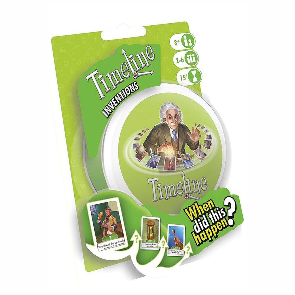 asmodee timeline historical inventions family quiz card game packaging