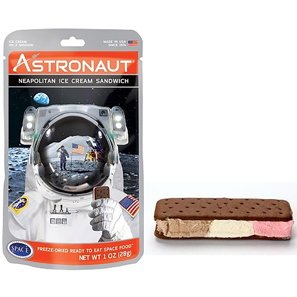 astronaut neapolitan ice cream sandwich with packaging