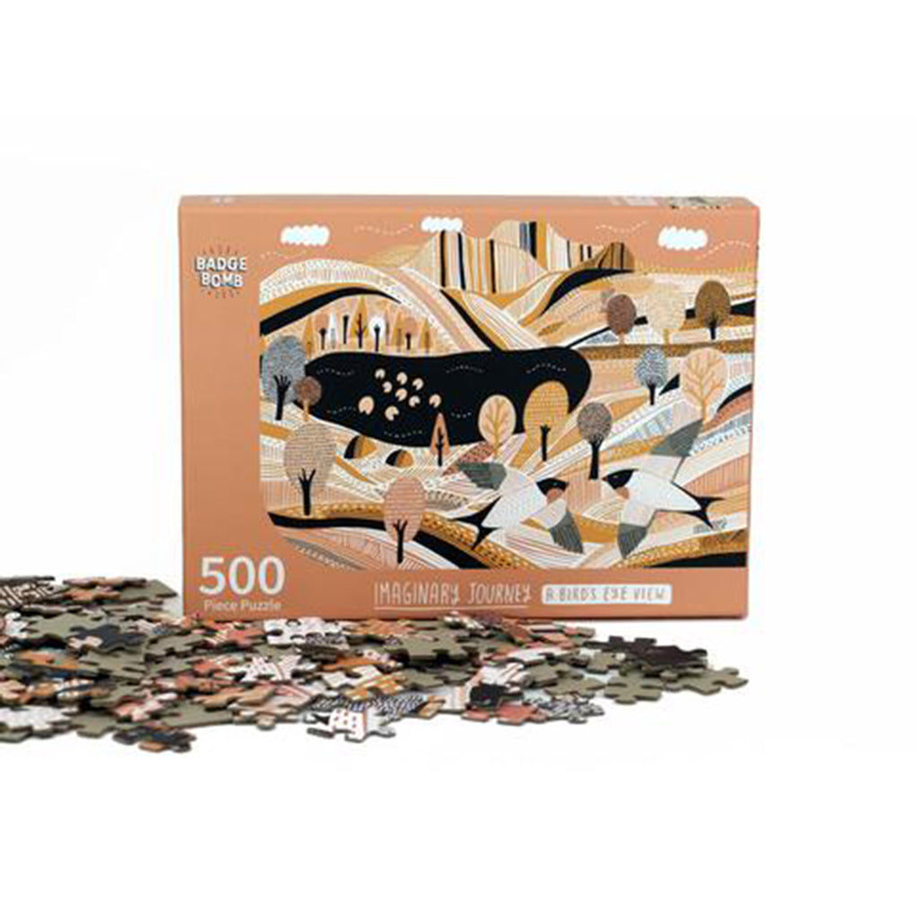 badge bomb 500 piece a birds eye view kate sutton designed family jigsaw puzzle pieces with box