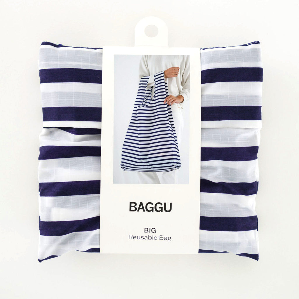 baggu big ripstop nylon reusable shopping bag sailor stripe in packaging
