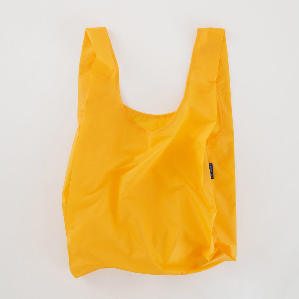 baggu reusable standard ripstop nylon bag in yolk yellow open