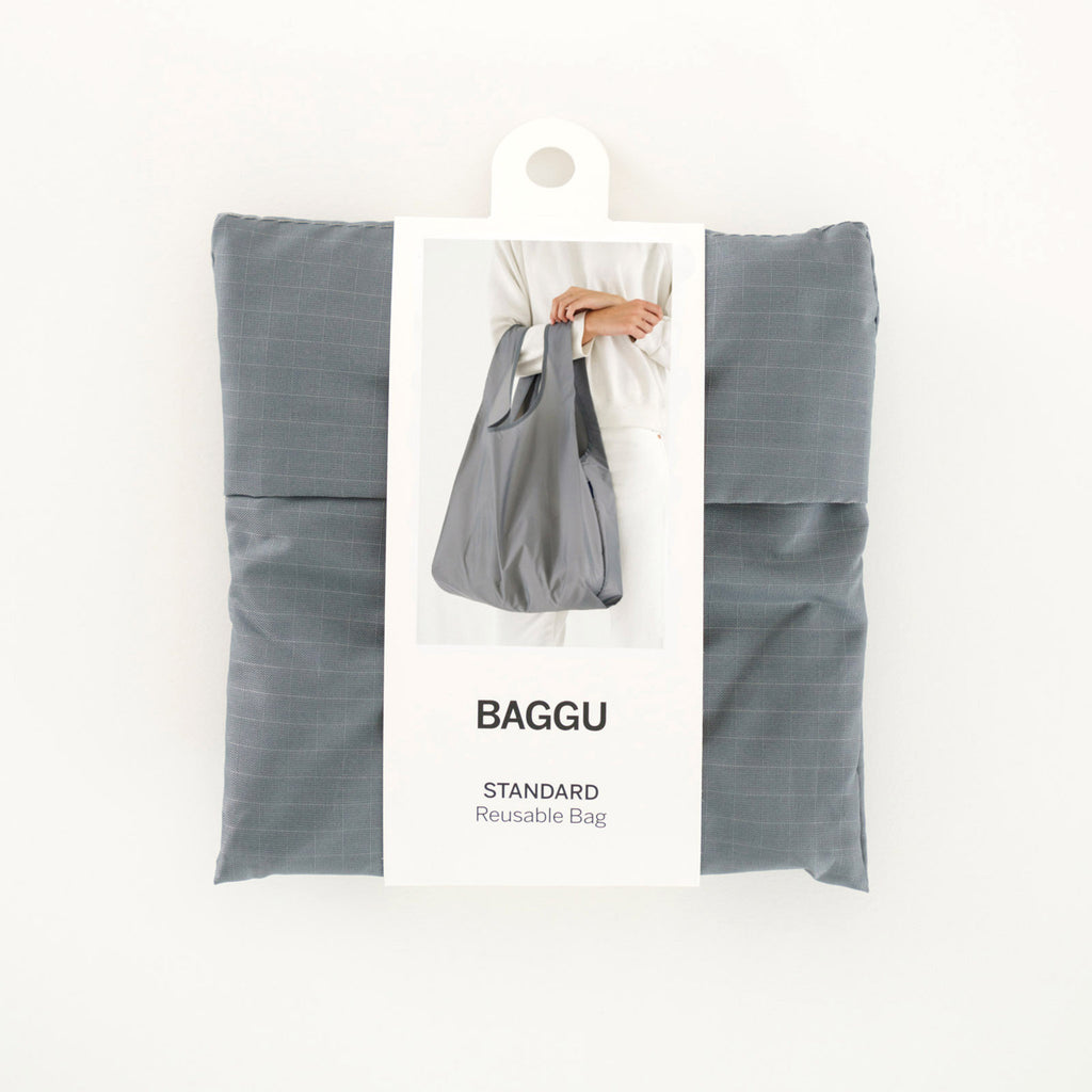 baggu standard ripstop nylon reusable shopping bag grey in packaging