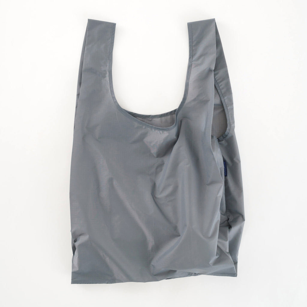baggu standard ripstop nylon reusable shopping bag grey open