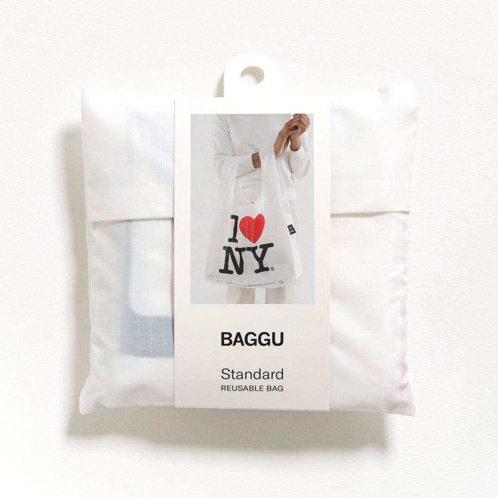 baggu standard ripstop nylon reusable shopping bag i love new york in packaging