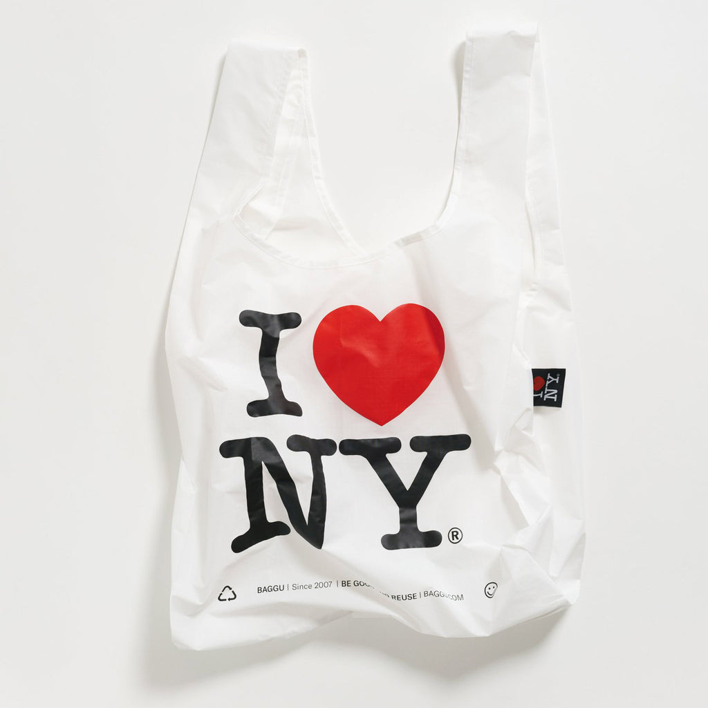 baggu standard ripstop nylon reusable shopping bag i love new york open