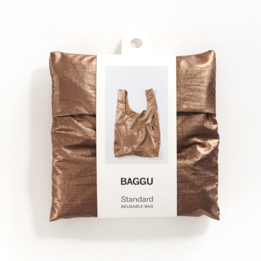 baggu standard ripstop nylon reusable shopping bag metallic copper in packaging