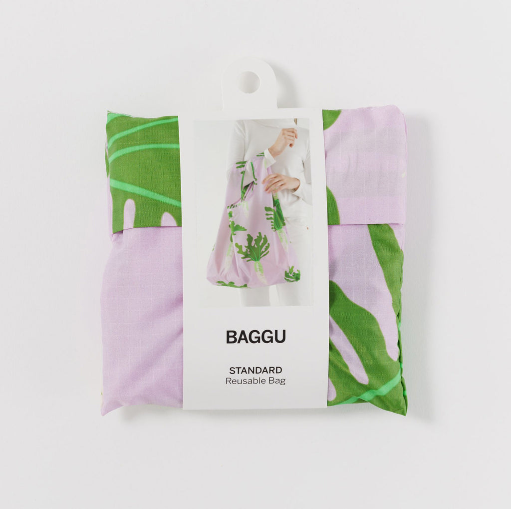 baggu reusable standard ripstop nylon bag in daikon with packaging