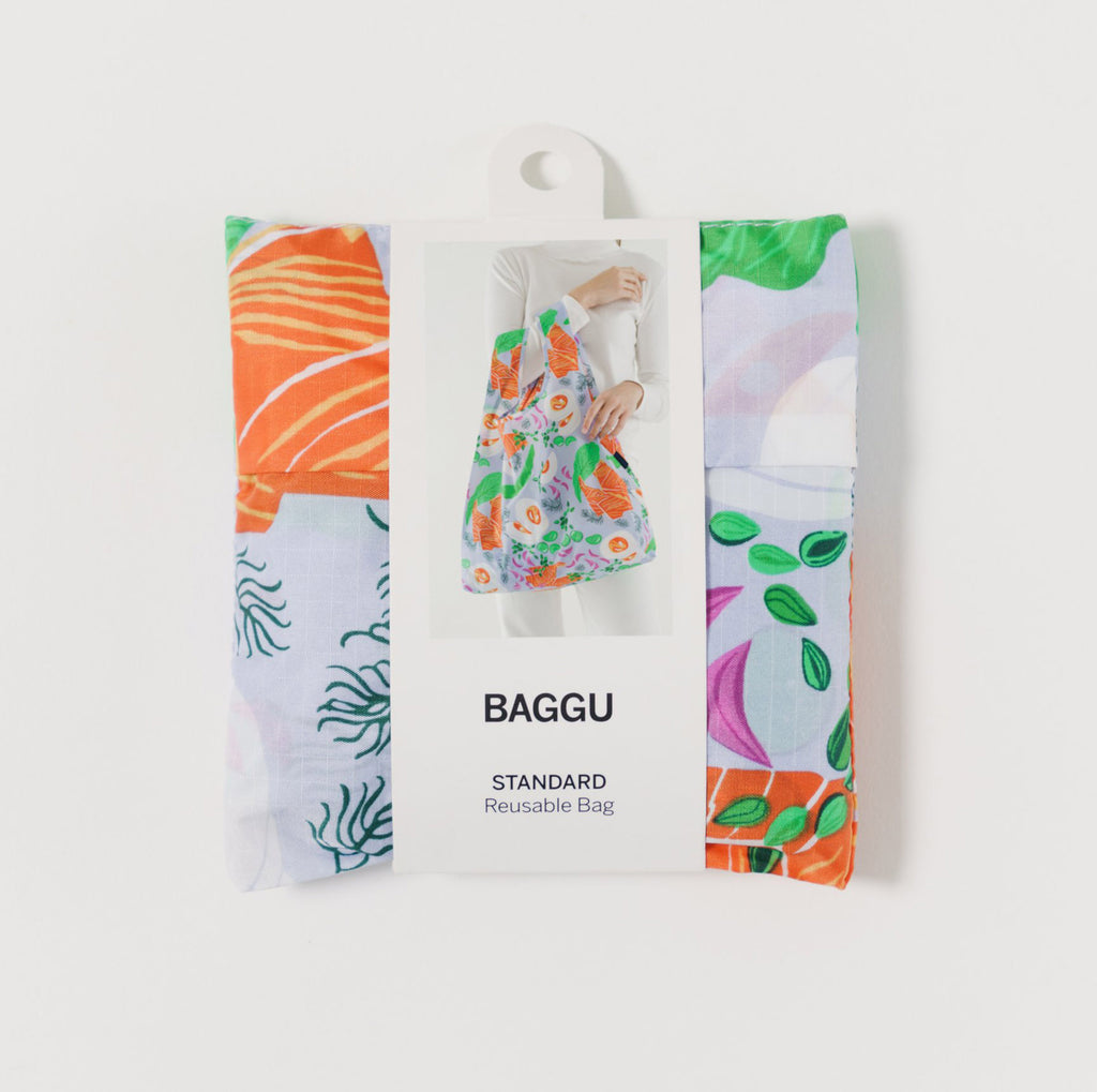 baggu reusable standard ripstop nylon bag in lox plate with packaging