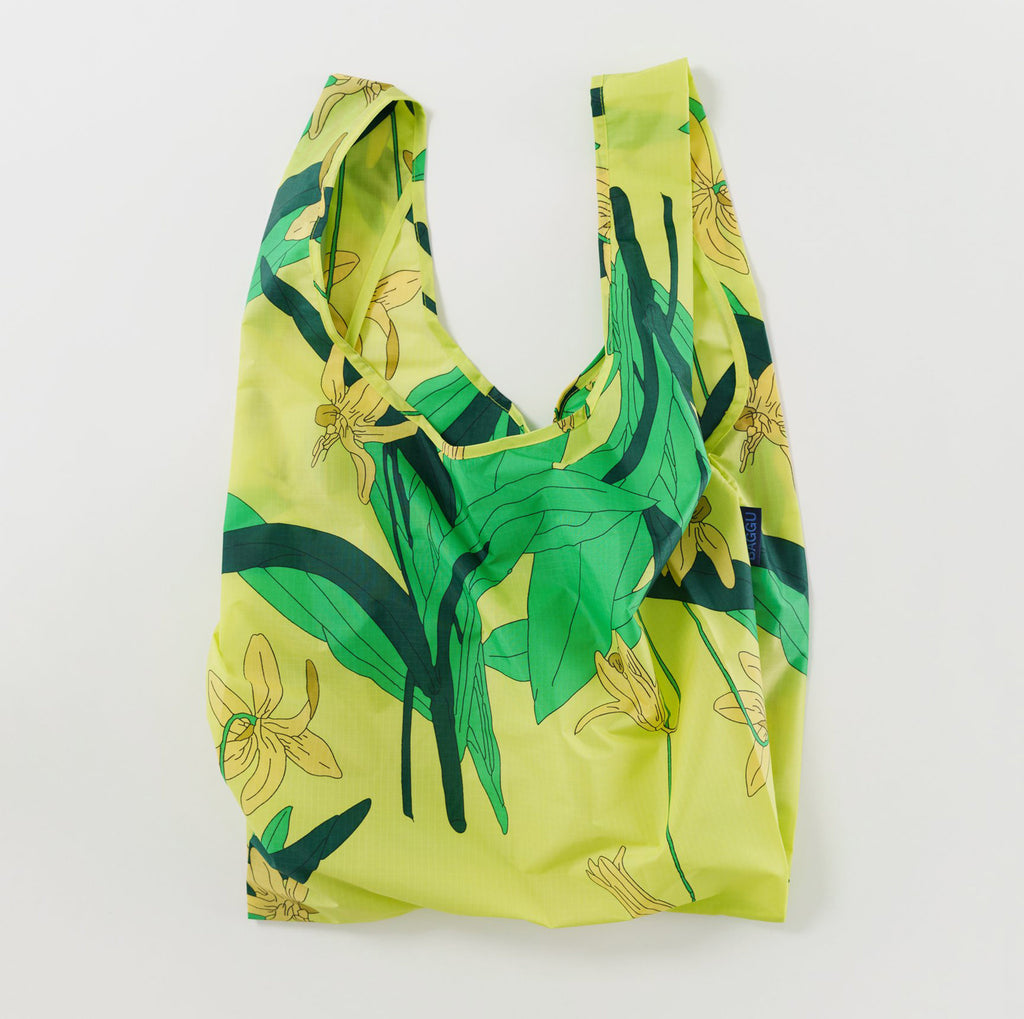 baggu reusable standard ripstop nylon bag in yellow lily open