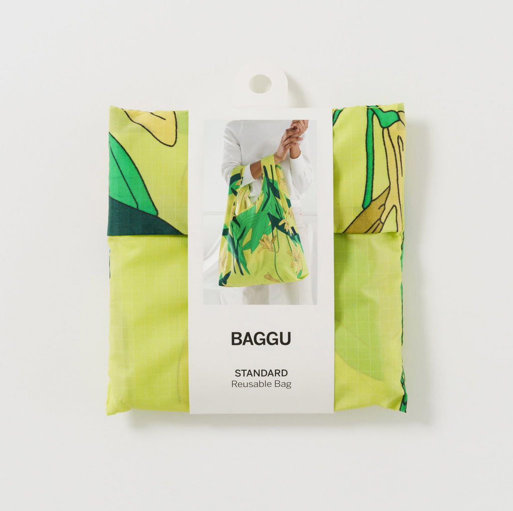 baggu reusable standard ripstop nylon bag in yellow lily with packaging