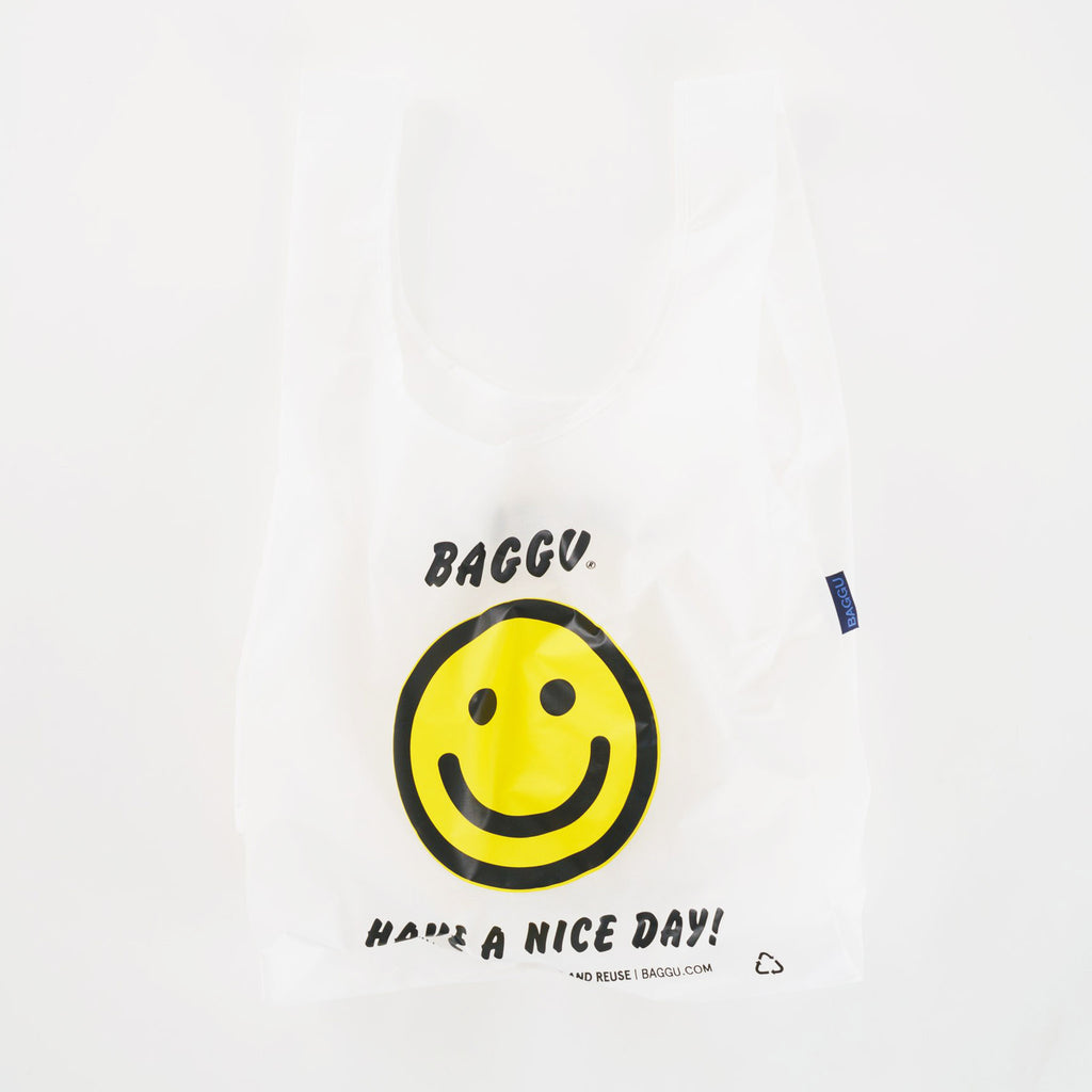 baggu reusable standard white ripstop nylon bag in thank you happy with yellow smiley face and have a nice day in black text open