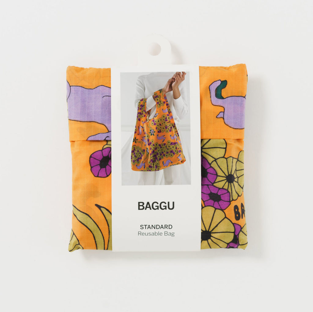 baggu reusable standard orange ripstop nylon bag in wild rabbit with packaging