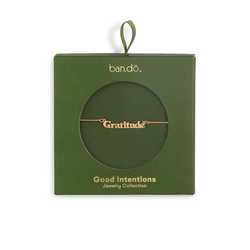 bando good intentions jewelry collection gratitude necklace in green box