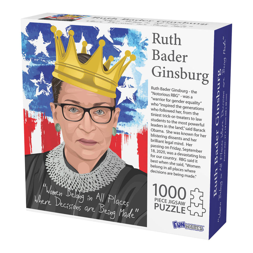 barbuzzo & funwares 1000 piece the notorious rbg ruth bader ginsburg jigsaw puzzle box front on angle