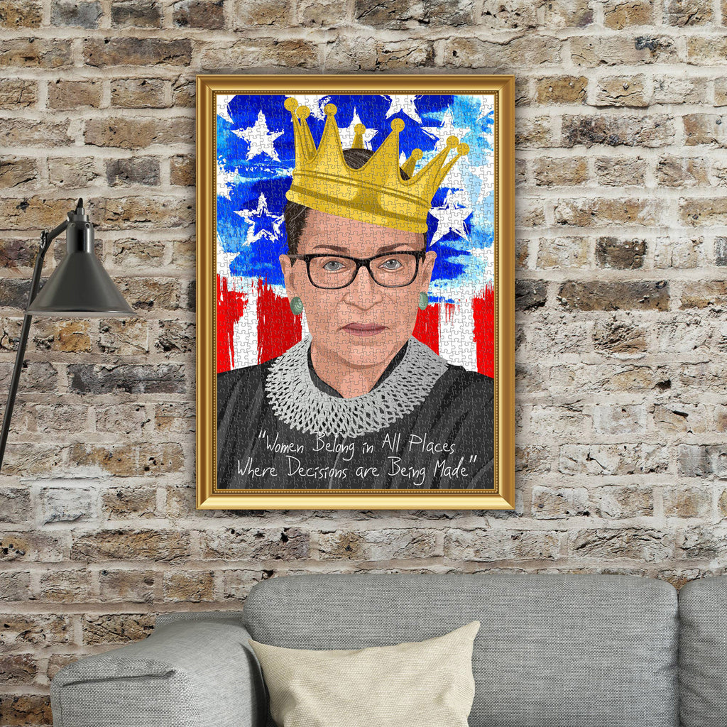 barbuzzo & funwares 1000 piece the notorious rbg ruth bader ginsburg jigsaw puzzle framed on wall