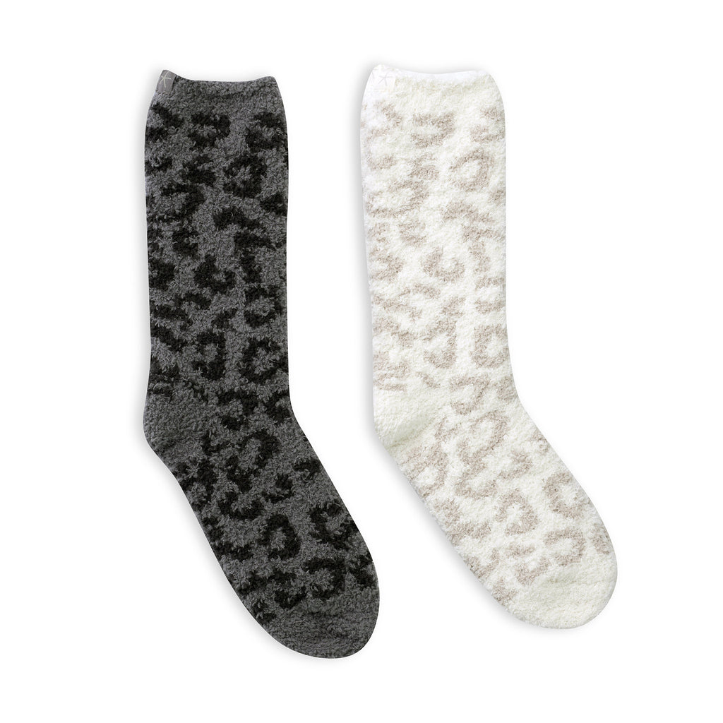 barefoot dreams cozychic barefoot in the wild animal print warm winter womens socks graphite carbon and cream stone