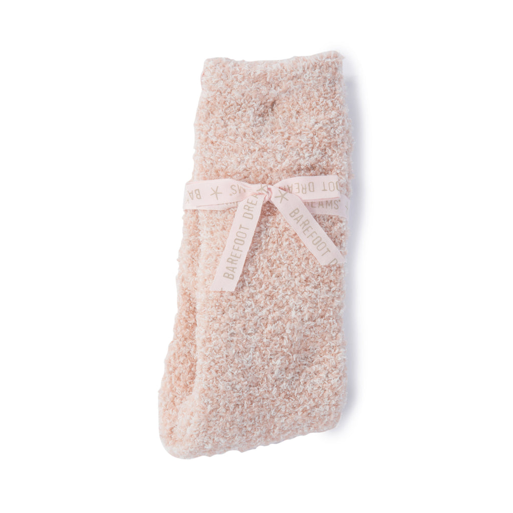 barefoot dreams cozychic heathered dustry rose and white warm winter womens socks in packaging