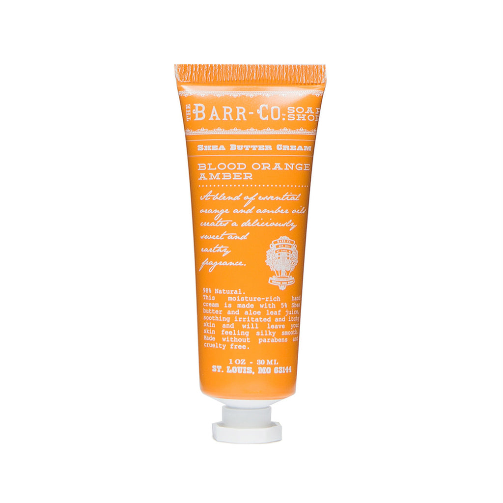 barr-co blood orange amber scent mini travel size hand cream in 1 ounce tube