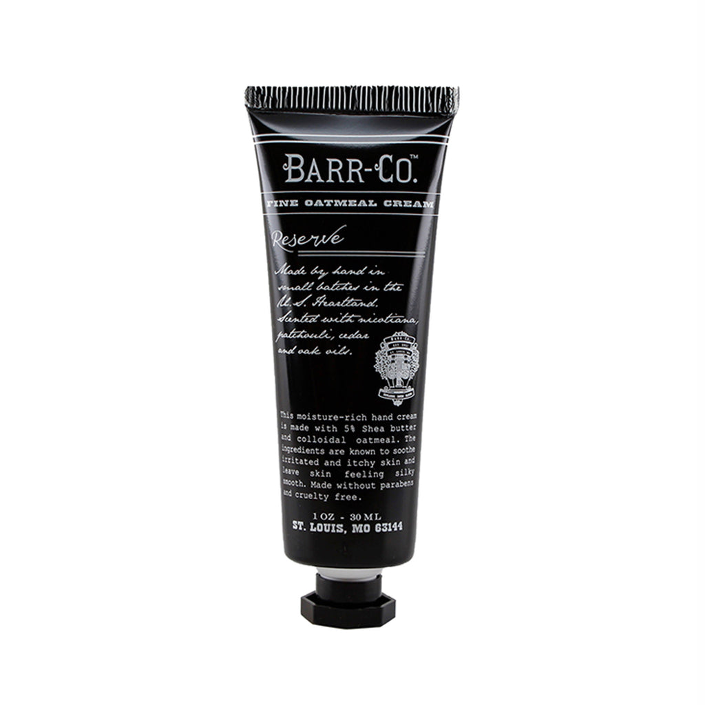barr-co reserve scent mini travel size hand cream in 1 ounce tube