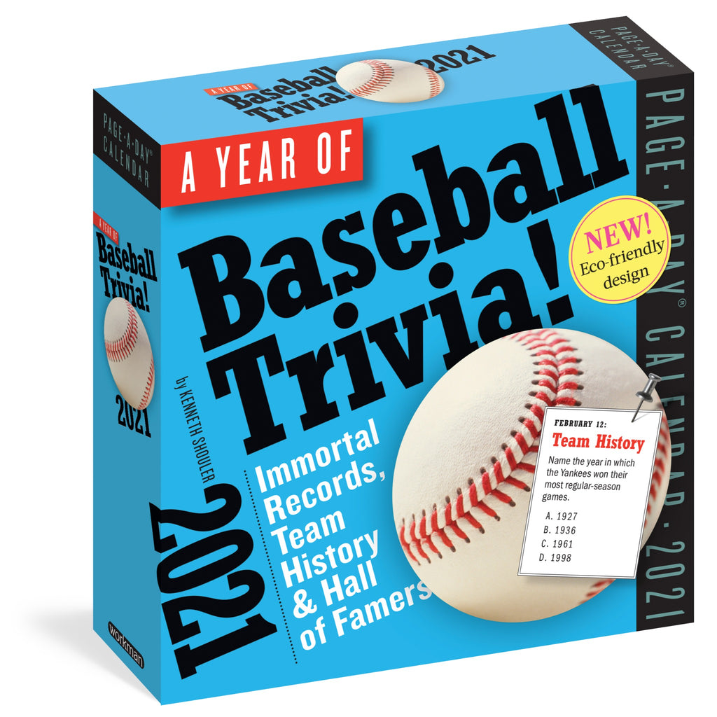 baseball trivia page a day calendar in blue box with baseball illustration and black and white text