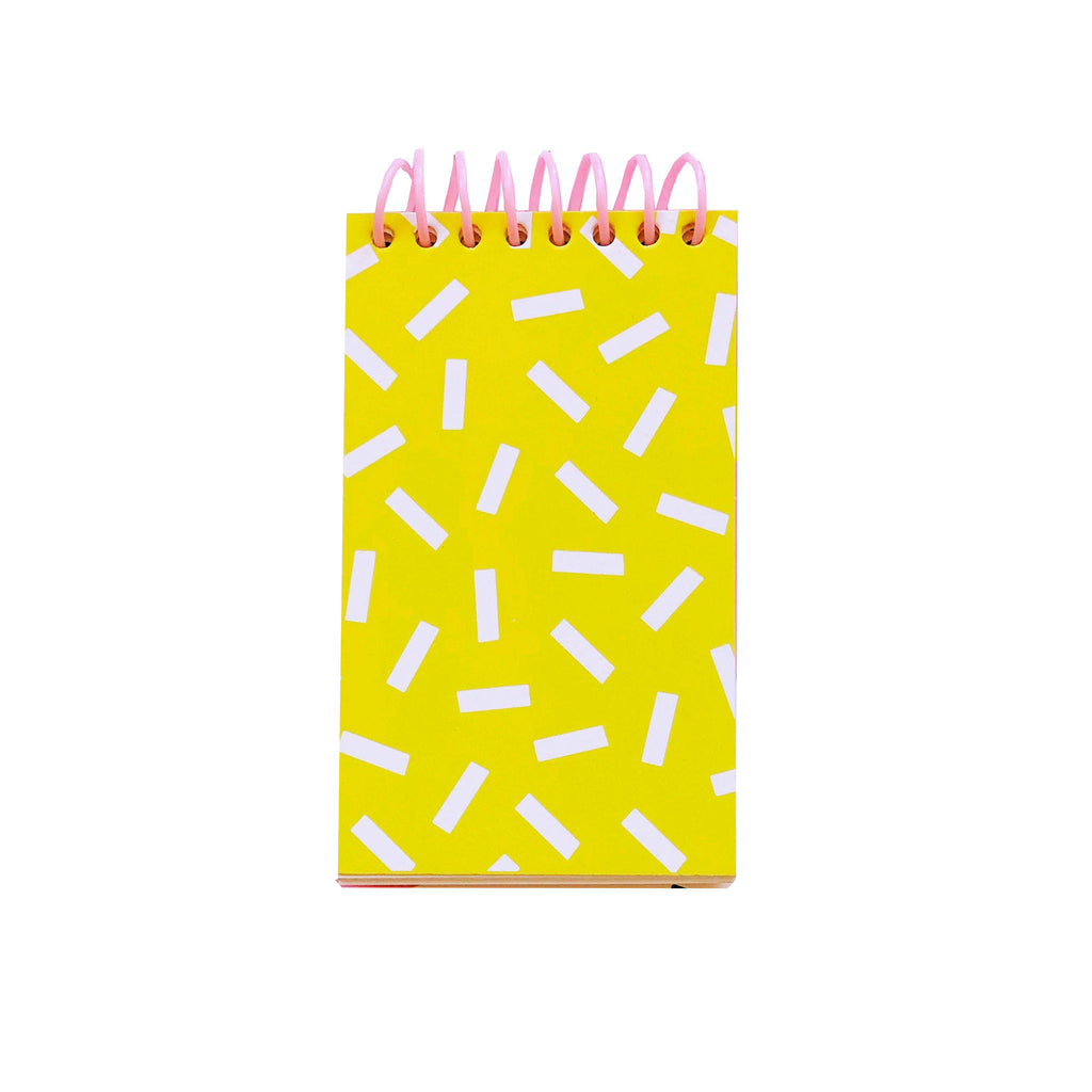 bash party goods sprinkle notepad in yellow and white