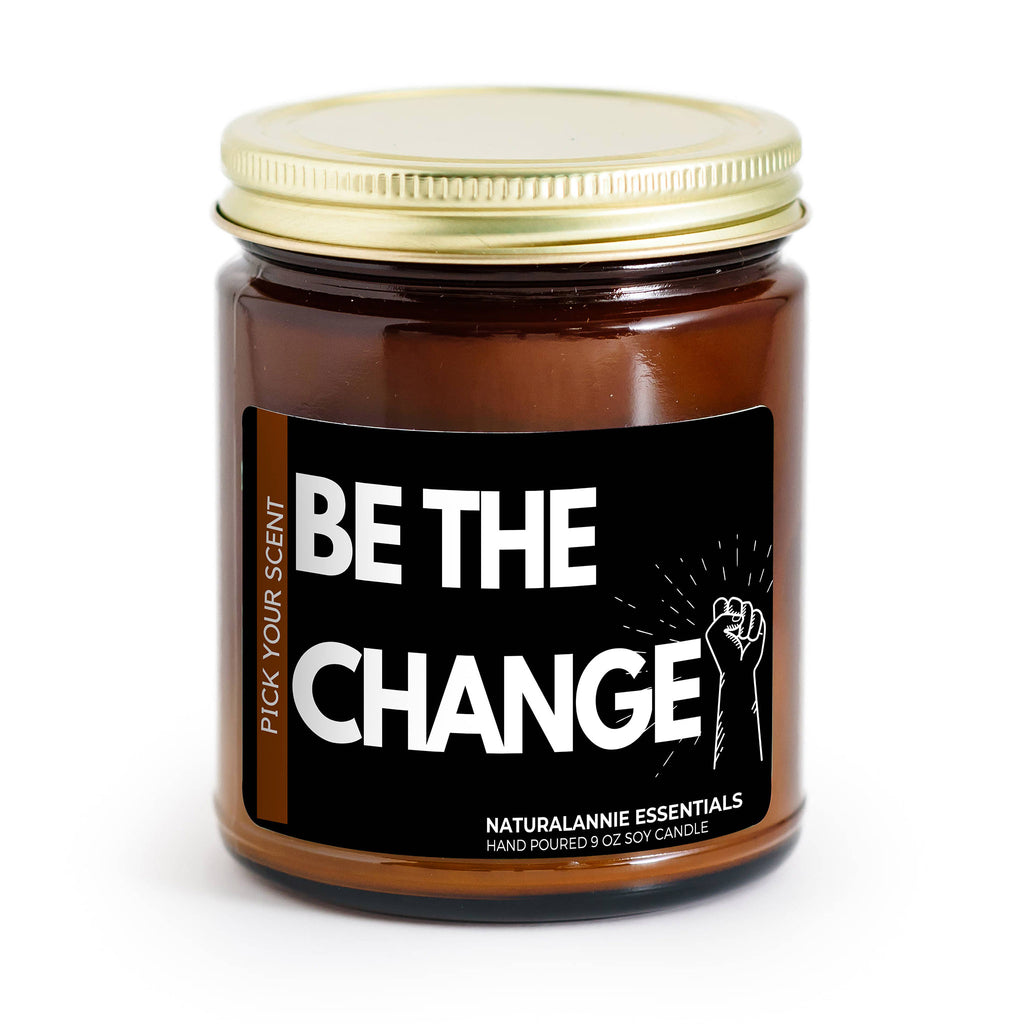 Be The Change Black Amber Plum Scented Soy Candle