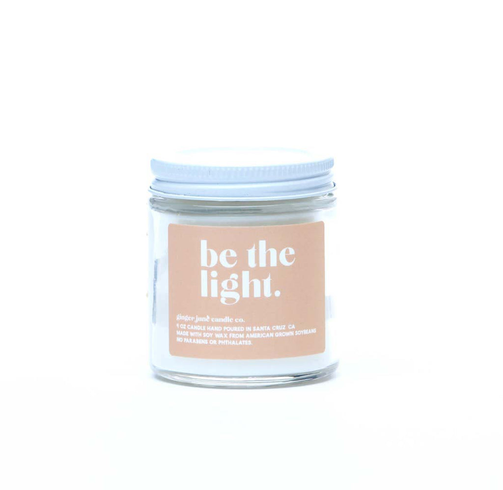 ginger june be the light gardenia and honeysuckle scented soy wax candle