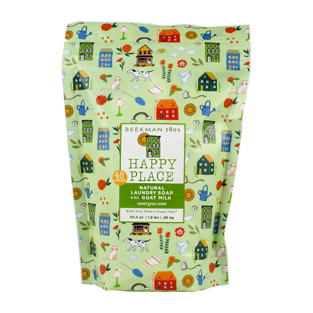 happy place sweet grass goat milk laundry soap