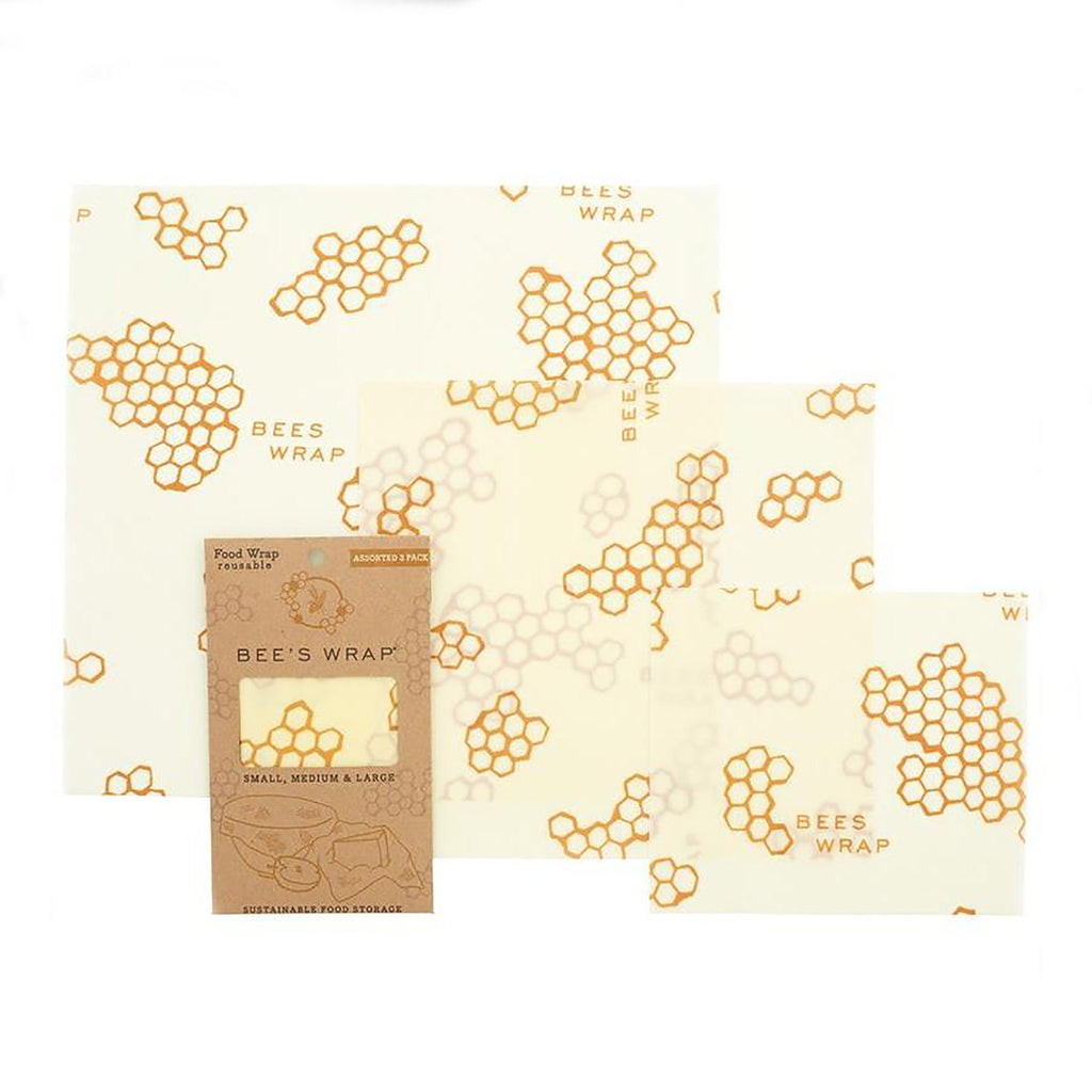 Bee's Wrap Eco-Friendly Food Storage 3 Pack of Assorted Sizes in Honeycomb