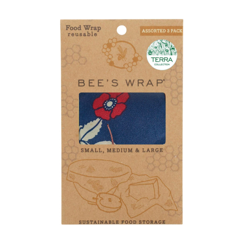 bee's wrap sustainable food storage reusable food wrap assorted set of 3 sizes in botanical blue print in packaging