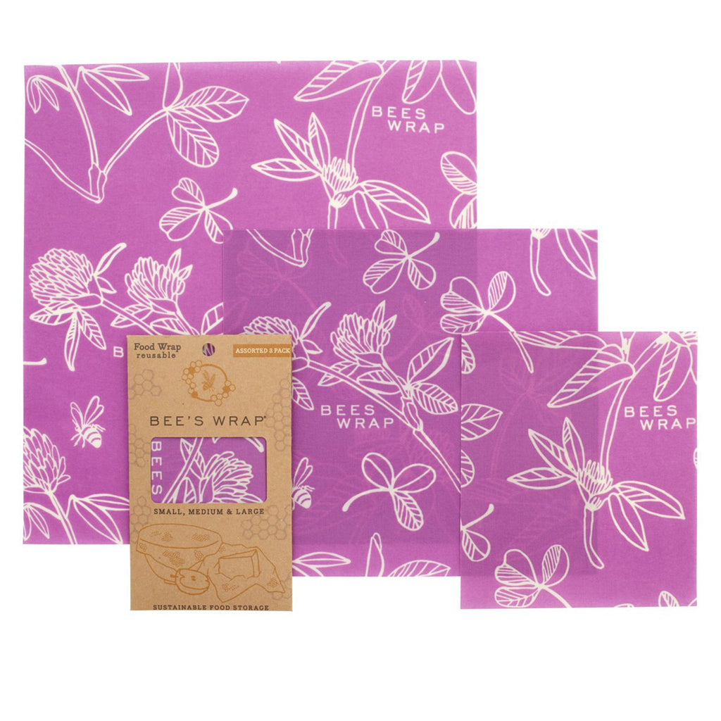 bee's wrap eco-friendly food storage three pack of assorted sizes in purple clover print