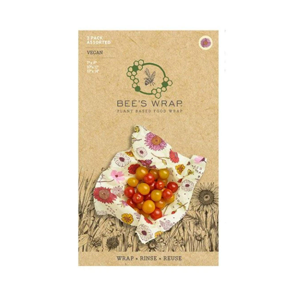 bee's wrap plant based vegan sustainable food storage reusable food wrap assorted set of 3 sizes in wildflower meadow print in packaging