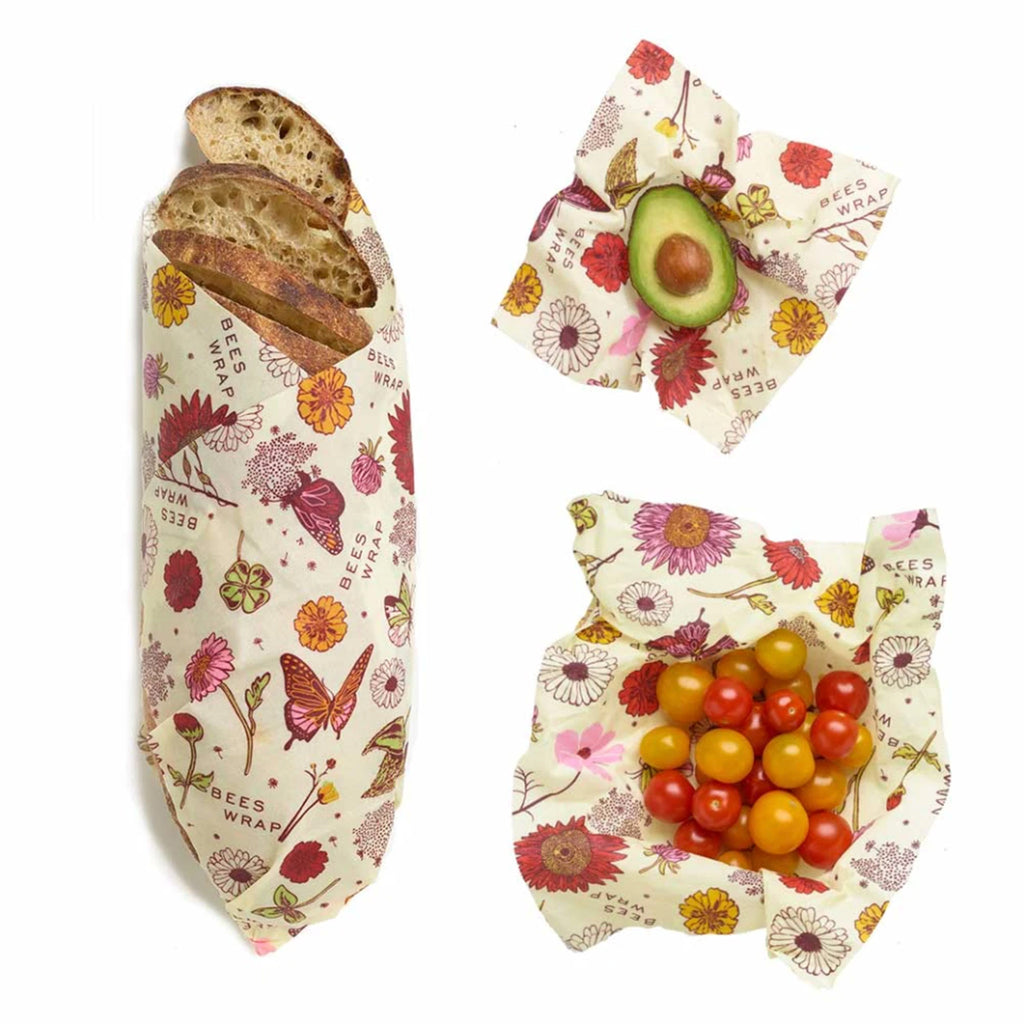 bee's wrap plant based vegan sustainable food storage reusable food wrap assorted set of 3 sizes in wildflower meadow print in use