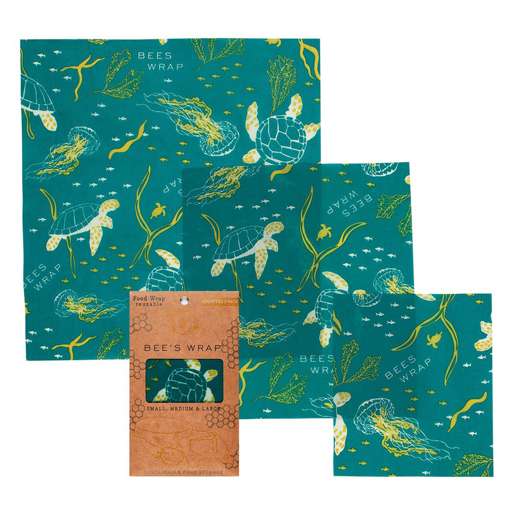 bee's wrap 3 pack assorted in oceans print