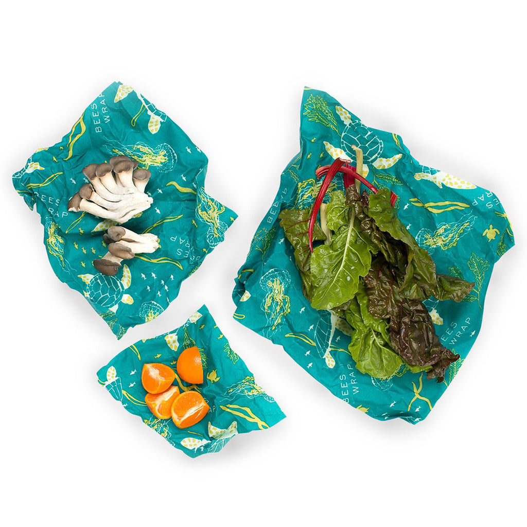 bee's wrap 3 pack assorted in oceans print with food